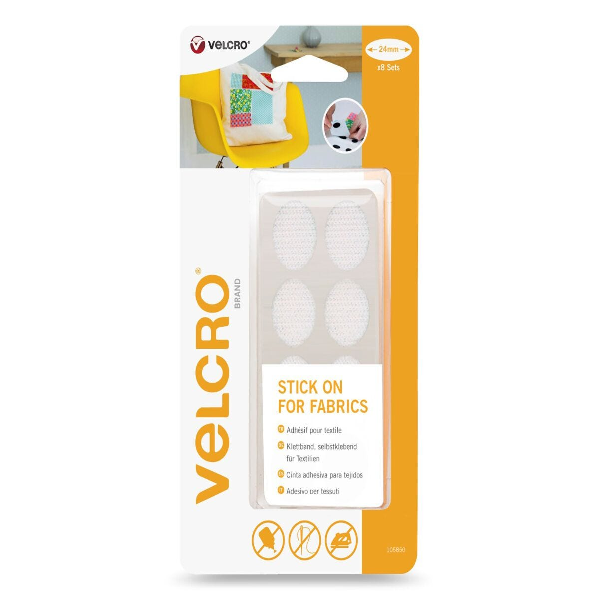 VELCRO Brand Oval Stick On For Fabric 24mm x 8 Sets White