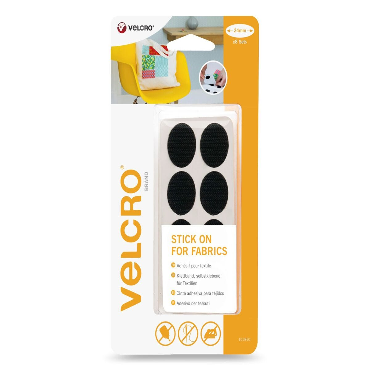 VELCRO Brand Oval Stick On For Fabric 24mm x 8 Sets Black