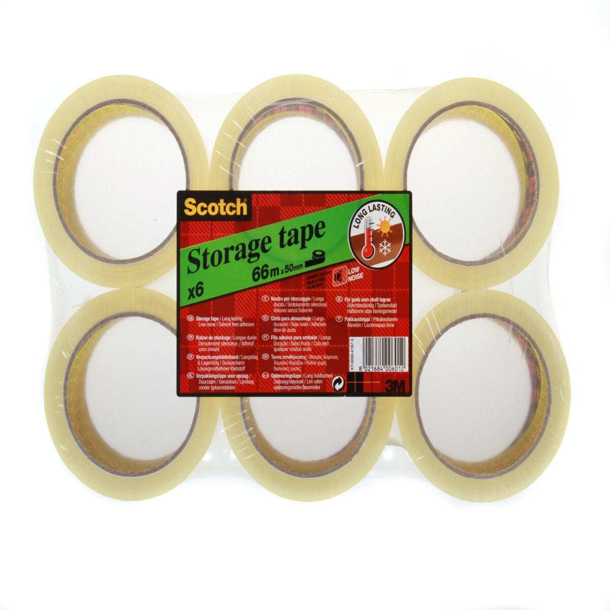 Scotch Low Noise Storage Tape 50mmx66m Pack of 6