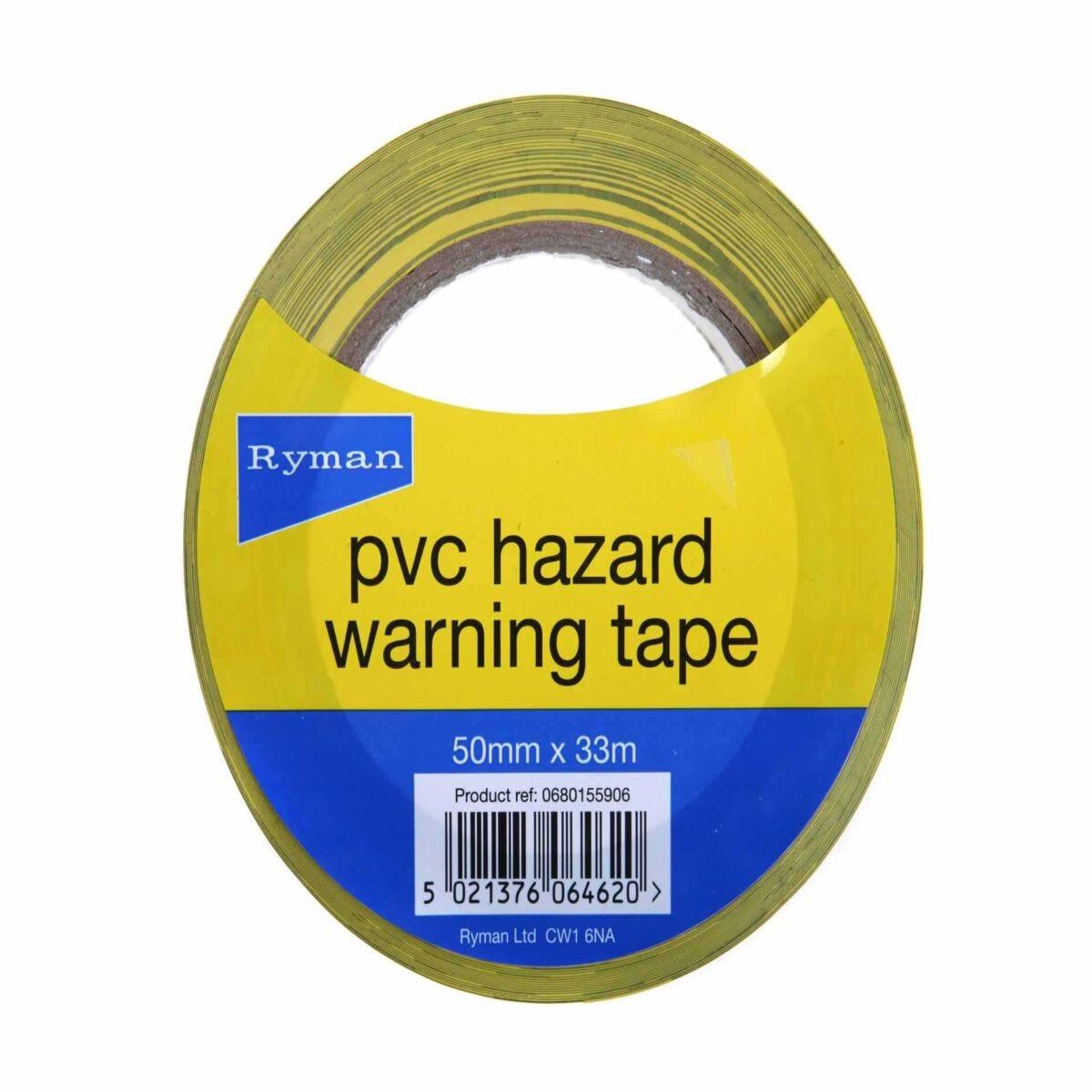 Ryman Hazard Warning Tape Pack of 3 50mmx33m
