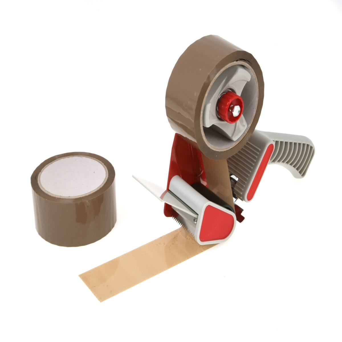 Ryman Parcel Tape Dispenser and Pack of 2 Tapes 48mm x 50m