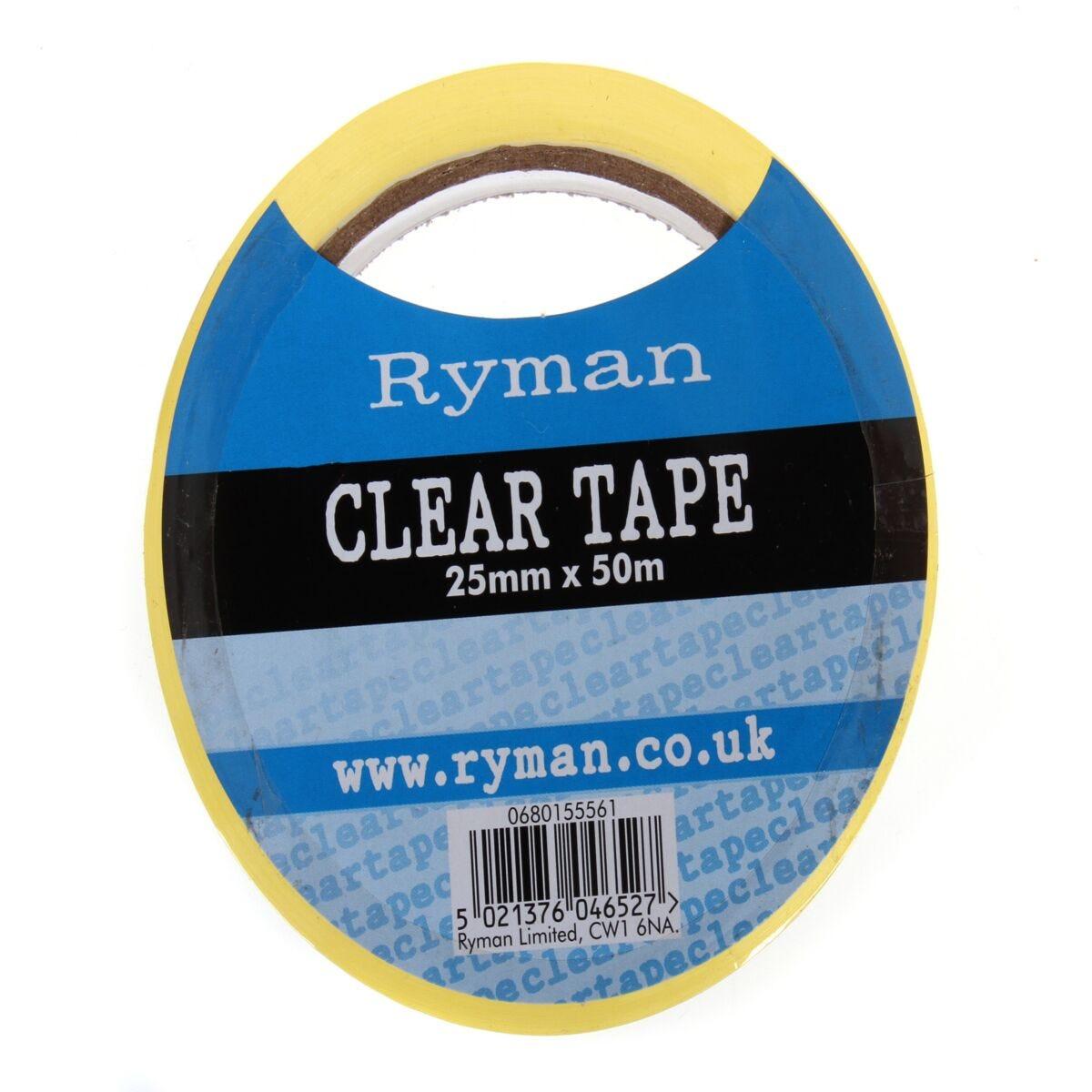 Ryman Tape 25mm x 50m Pack 12 Clear