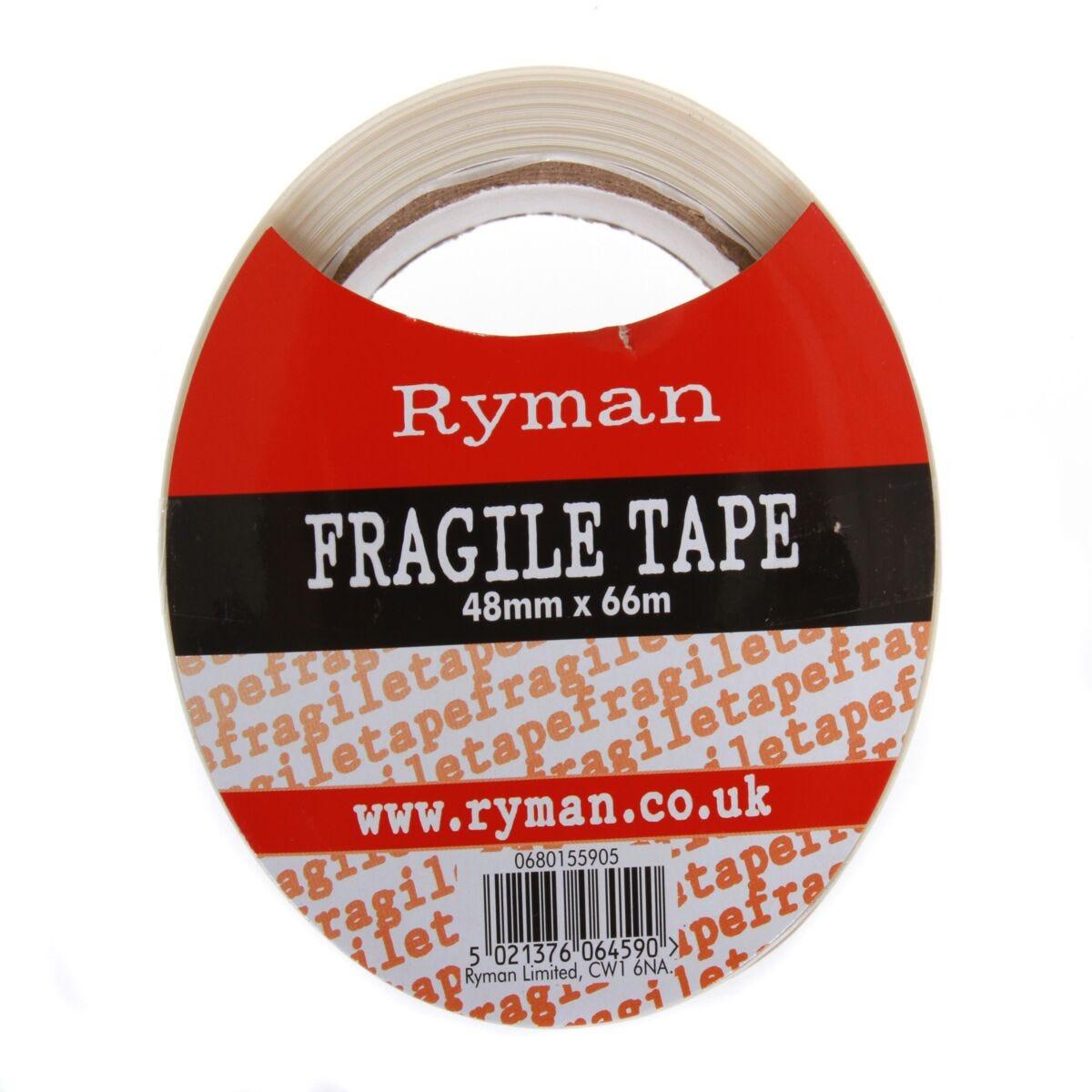 Ryman Fragile Warning Tape 50mm x 66m