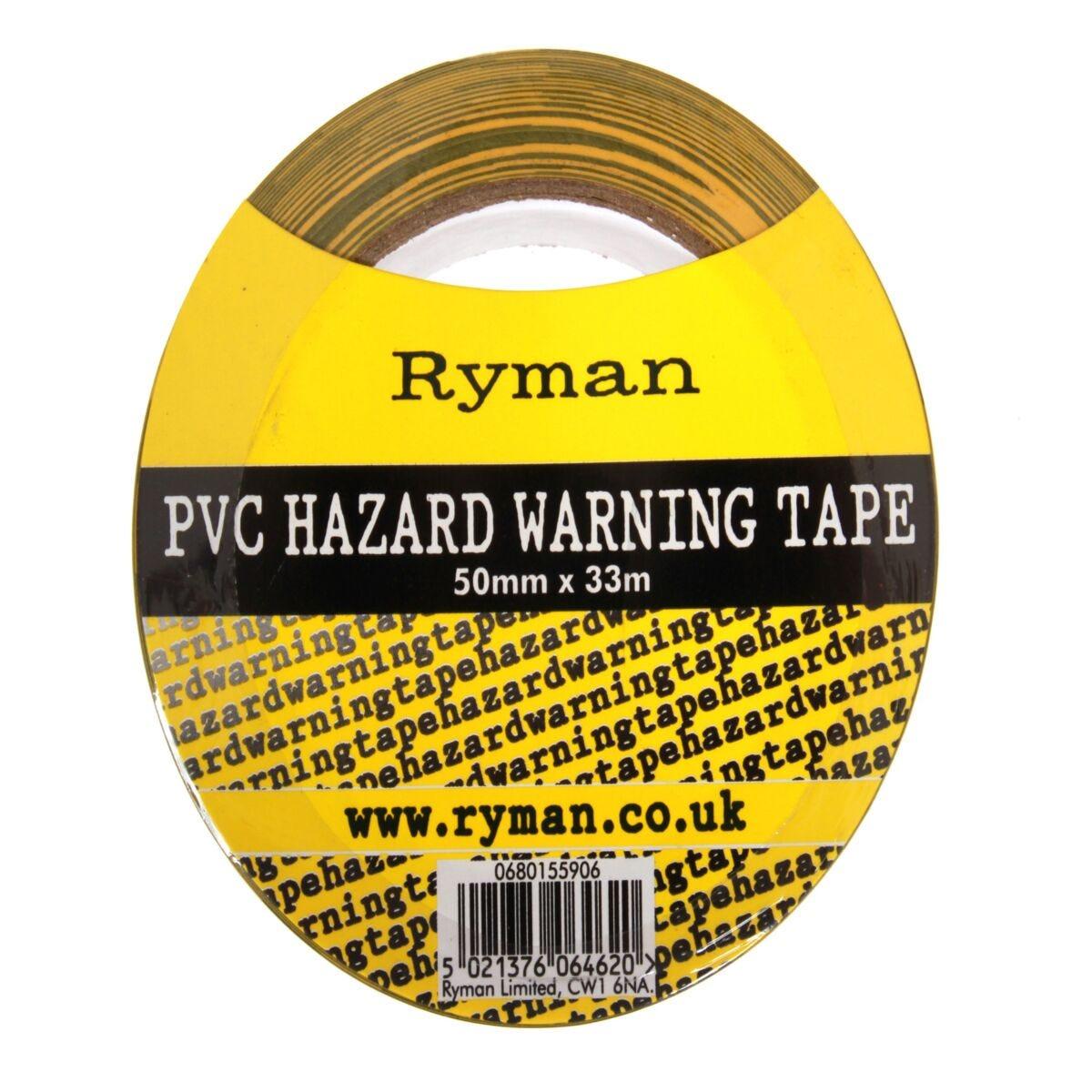 Ryman Hazard Warning Tape 50mmx33m