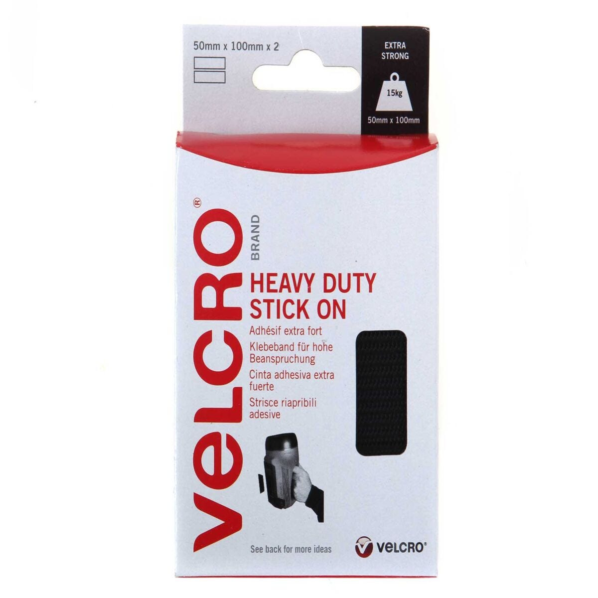 VELCRO Brand Heavy Duty Strips 50mmx100mm Pack of 2