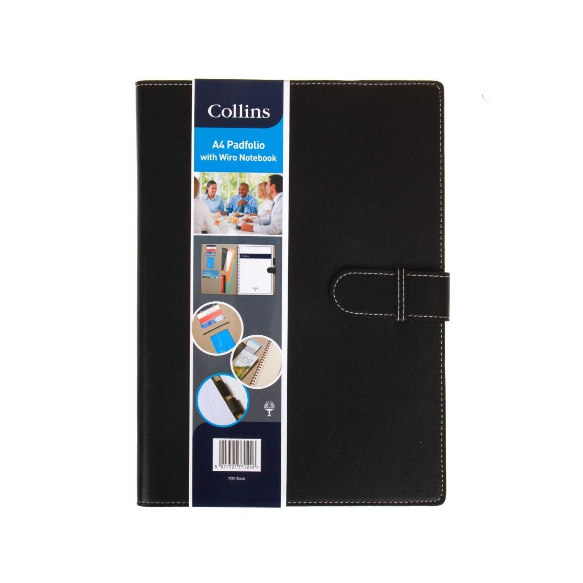 Collins Padfolio With Wiro Notebook A4 Black