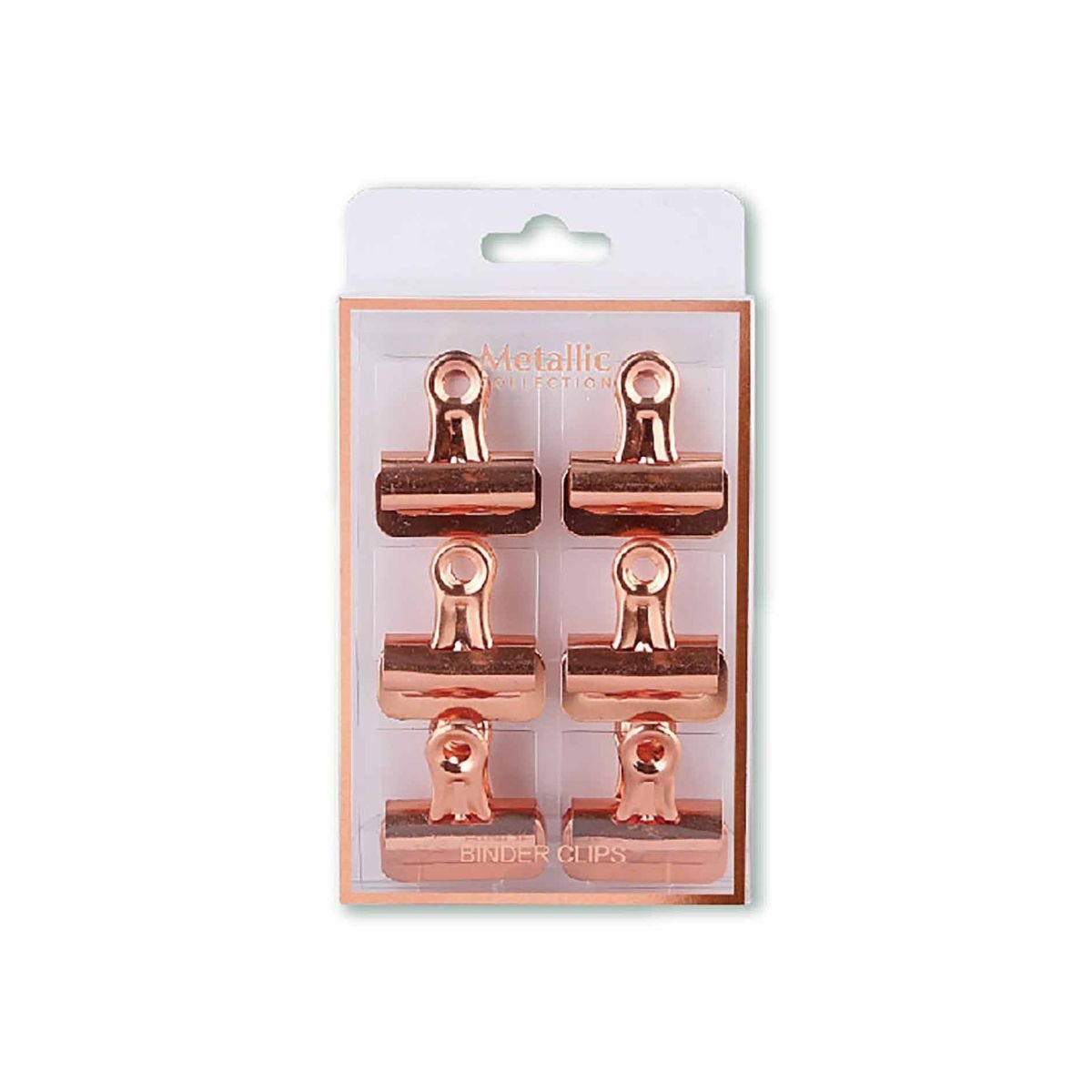 Bulldog Clips Rose Gold 32mm Pack of 6