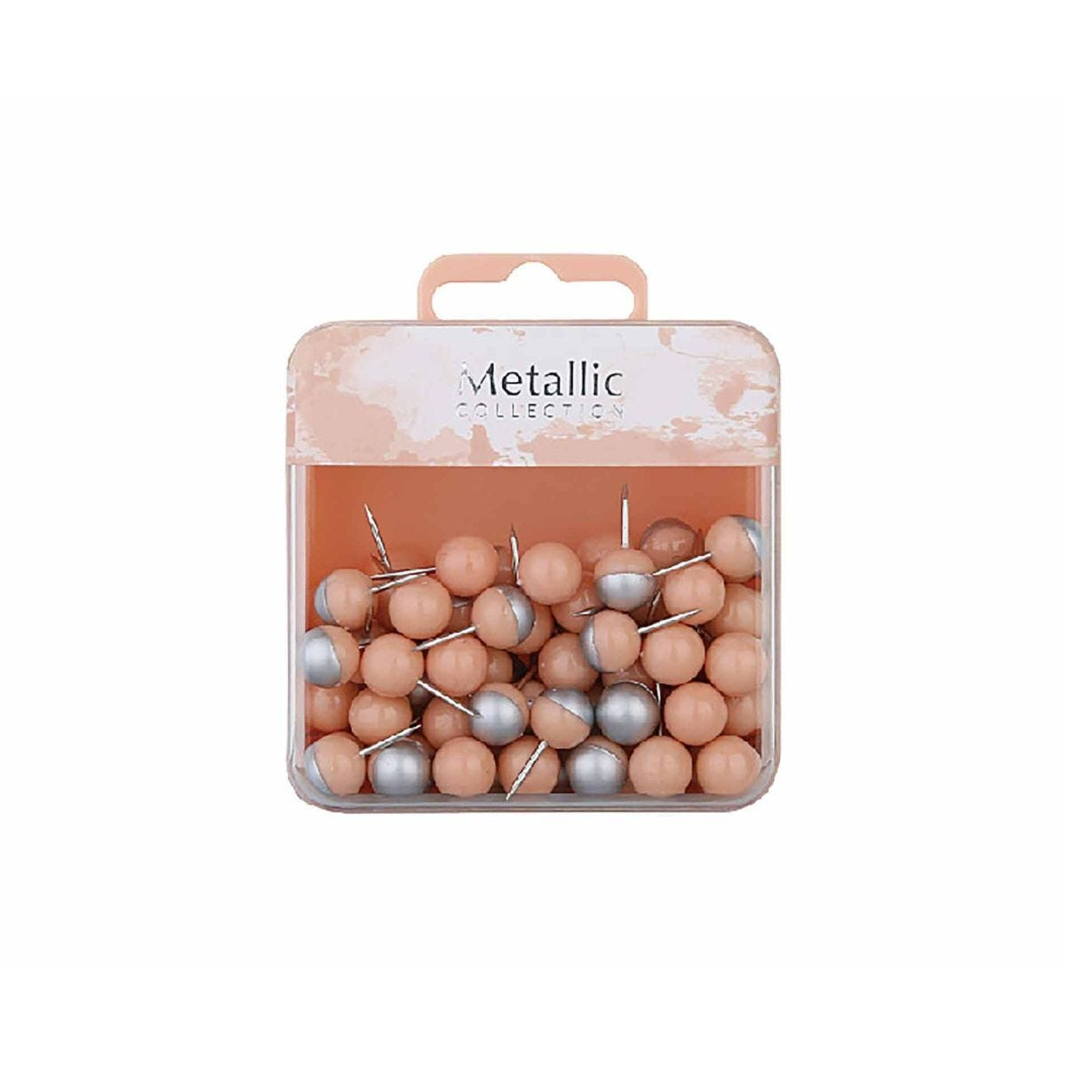 Ball Push Pins Pink and Silver Pack of 80
