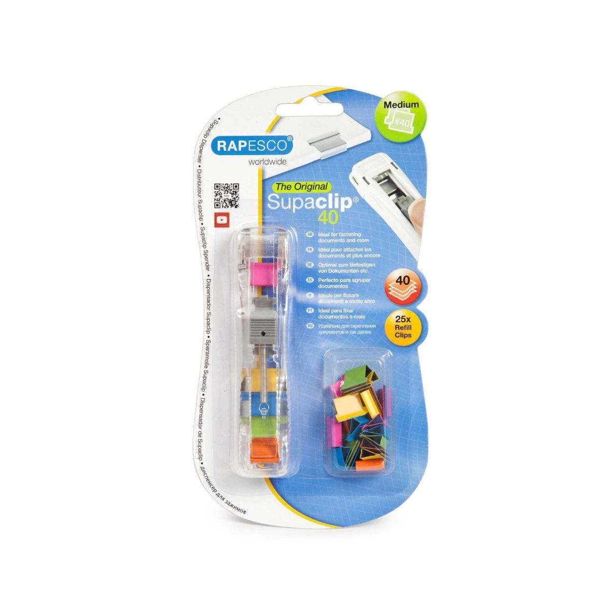 Rapesco Supaclips Dispenser Pack of 25 Clips