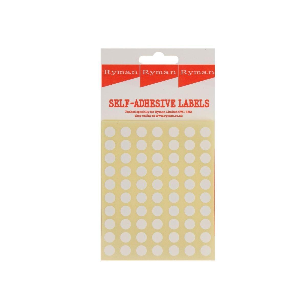 Ryman Self Adhesive Labels 8mm Diameter 70 per Sheet Pack of 700 White