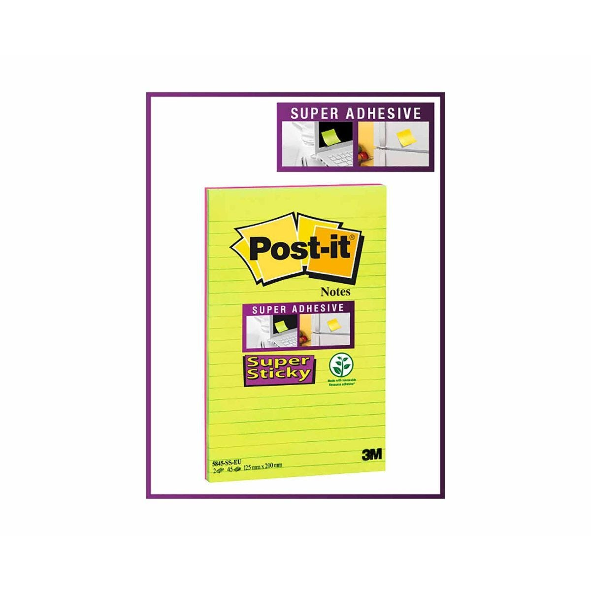 Post-it Super Sticky Lined Notes 2 Pads 45 Sheets