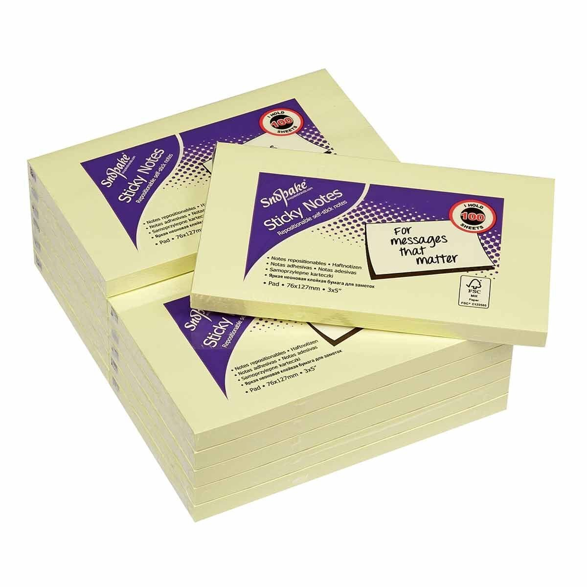 Snopake Sticky Notes 76x127mm 100 Sheets Yellow