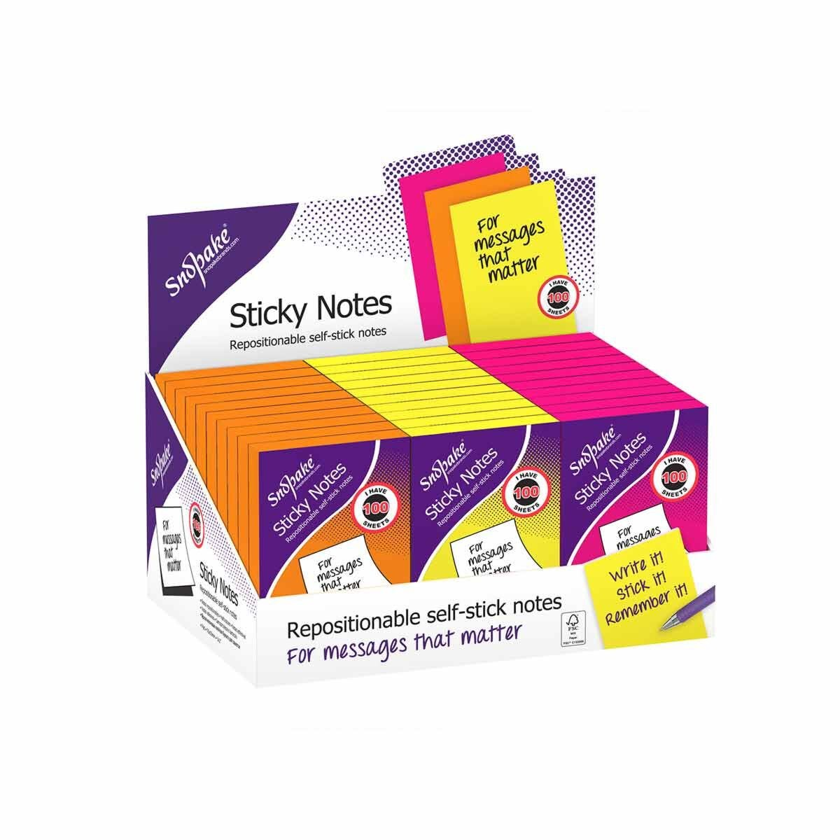 Snopake Sticky Notes 76x50mm 100 Sheets Assorted
