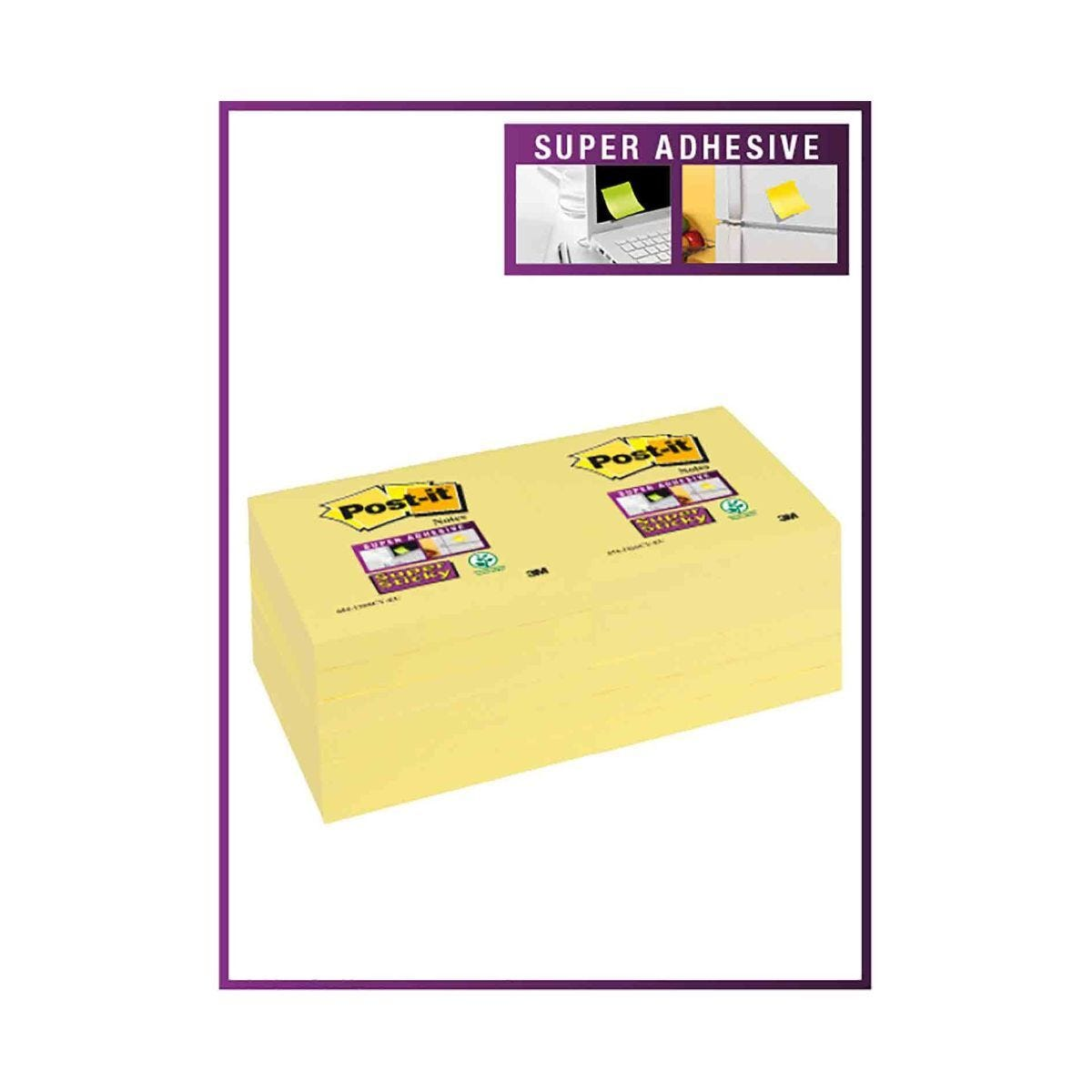 Post-it Super Sticky Notes Canary Yellow 76x76mm Pack of 12
