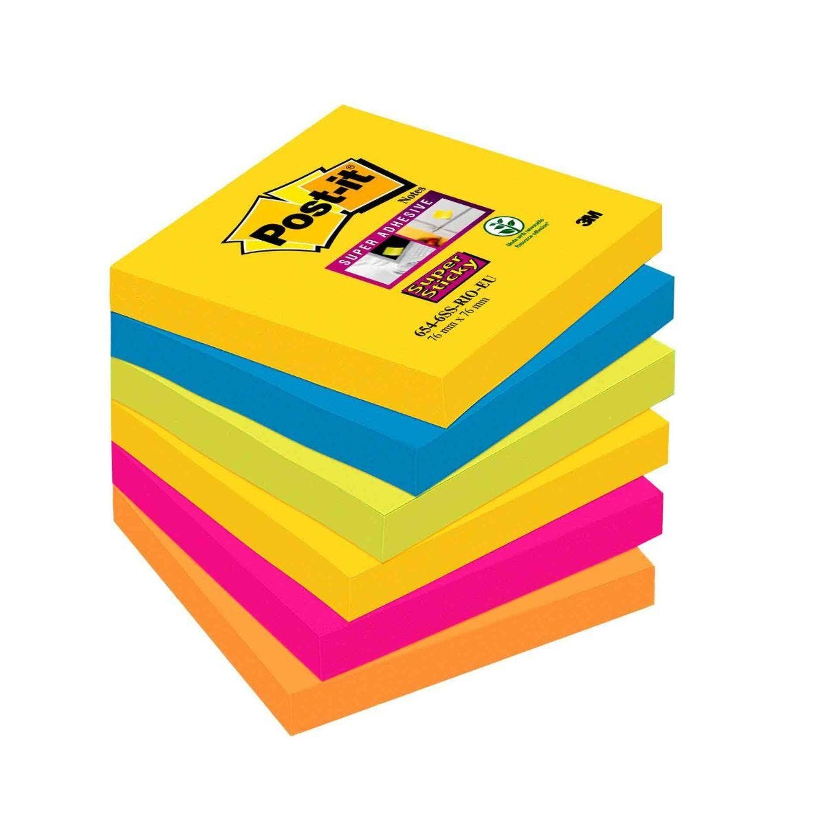 Post-it Super Sticky Notes Rio 76x76mm Pack of 6