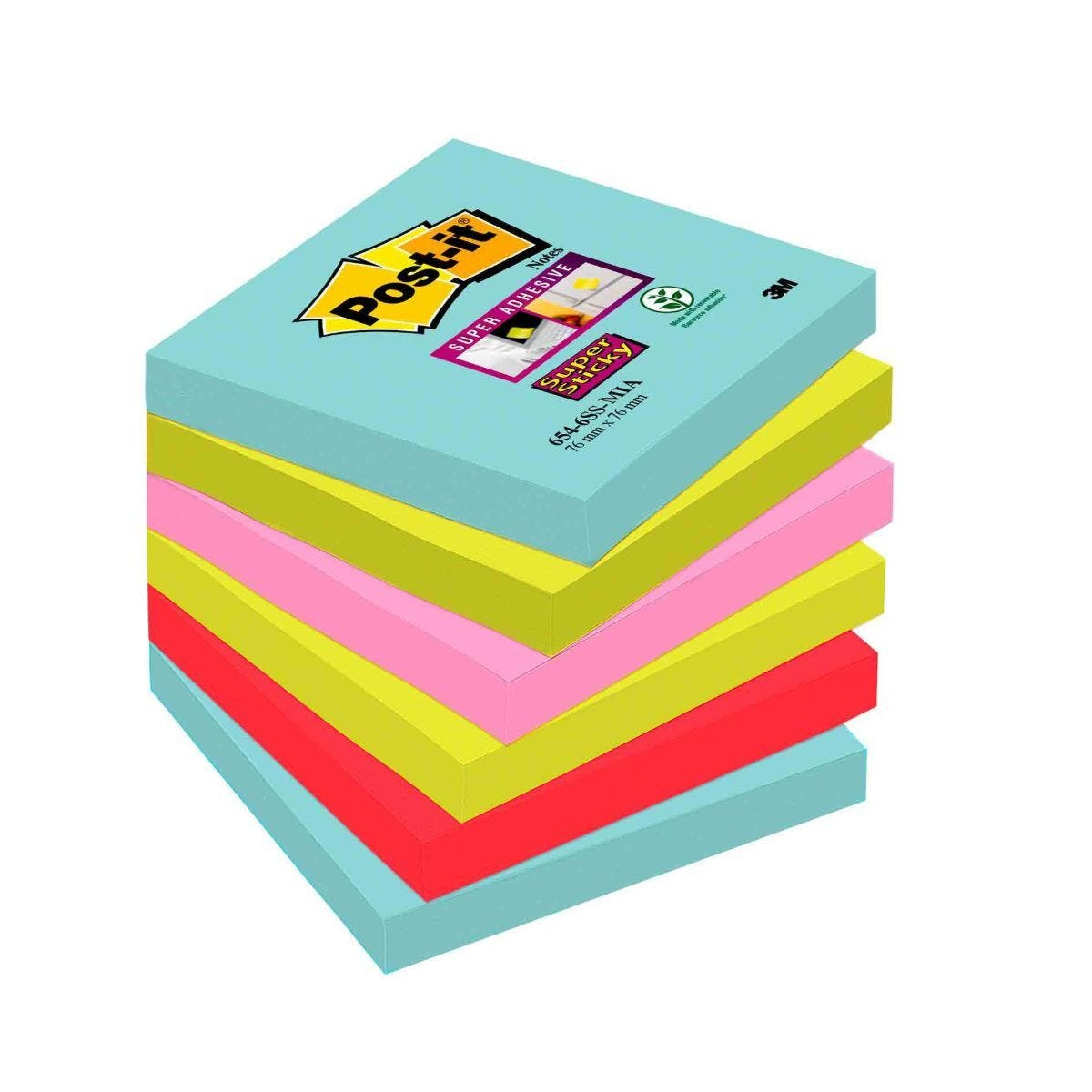 Post-it Super Sticky Notes Miami 76x76mm Pack of 6