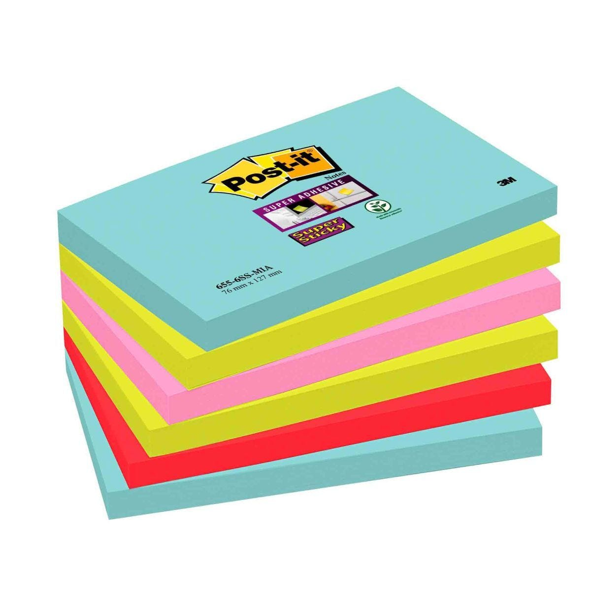 Post-it Super Sticky Notes Miami 76x127mm Pack of 6