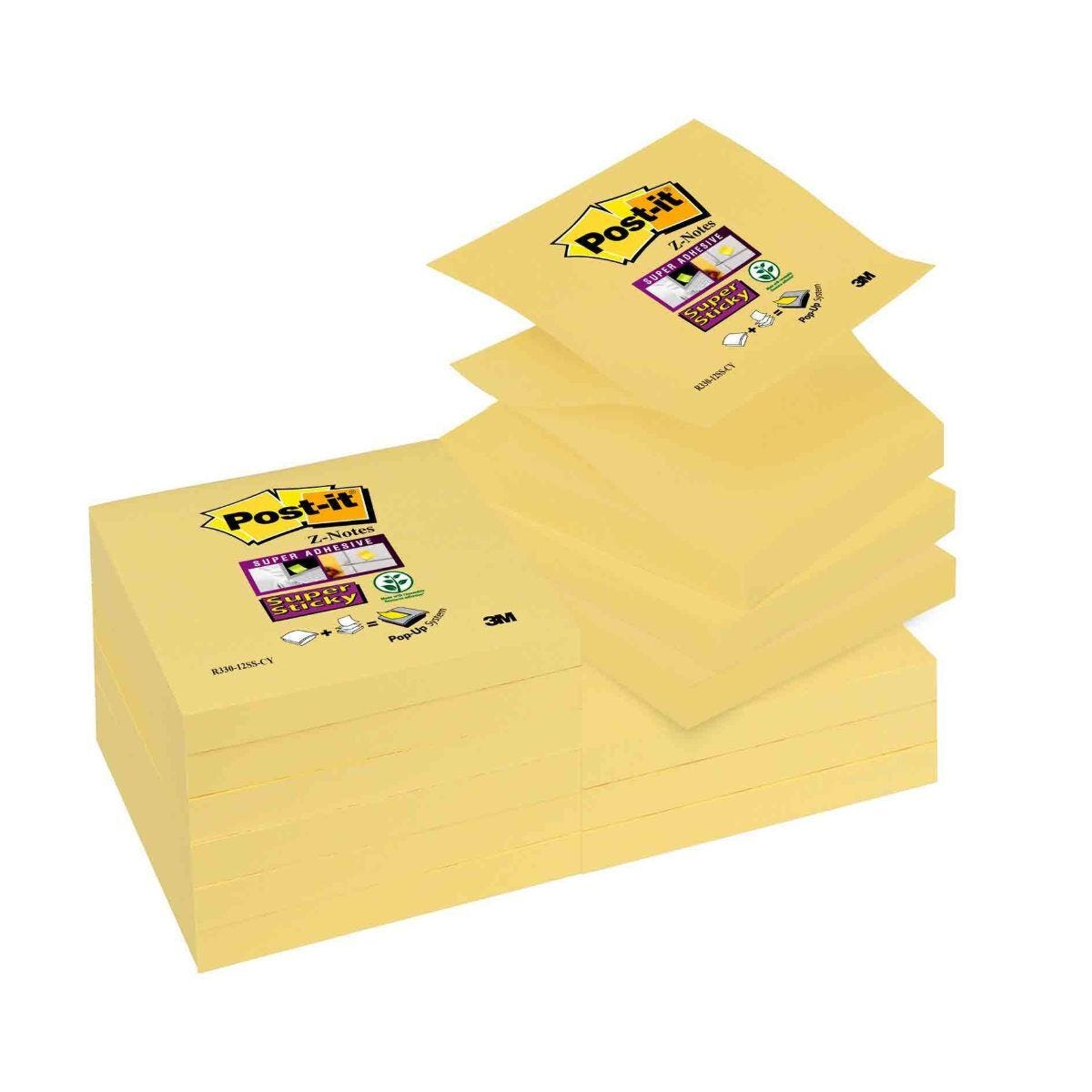 Post-it Super Sticky Z-Notes Canary Yellow 76x76mm Pack of 12