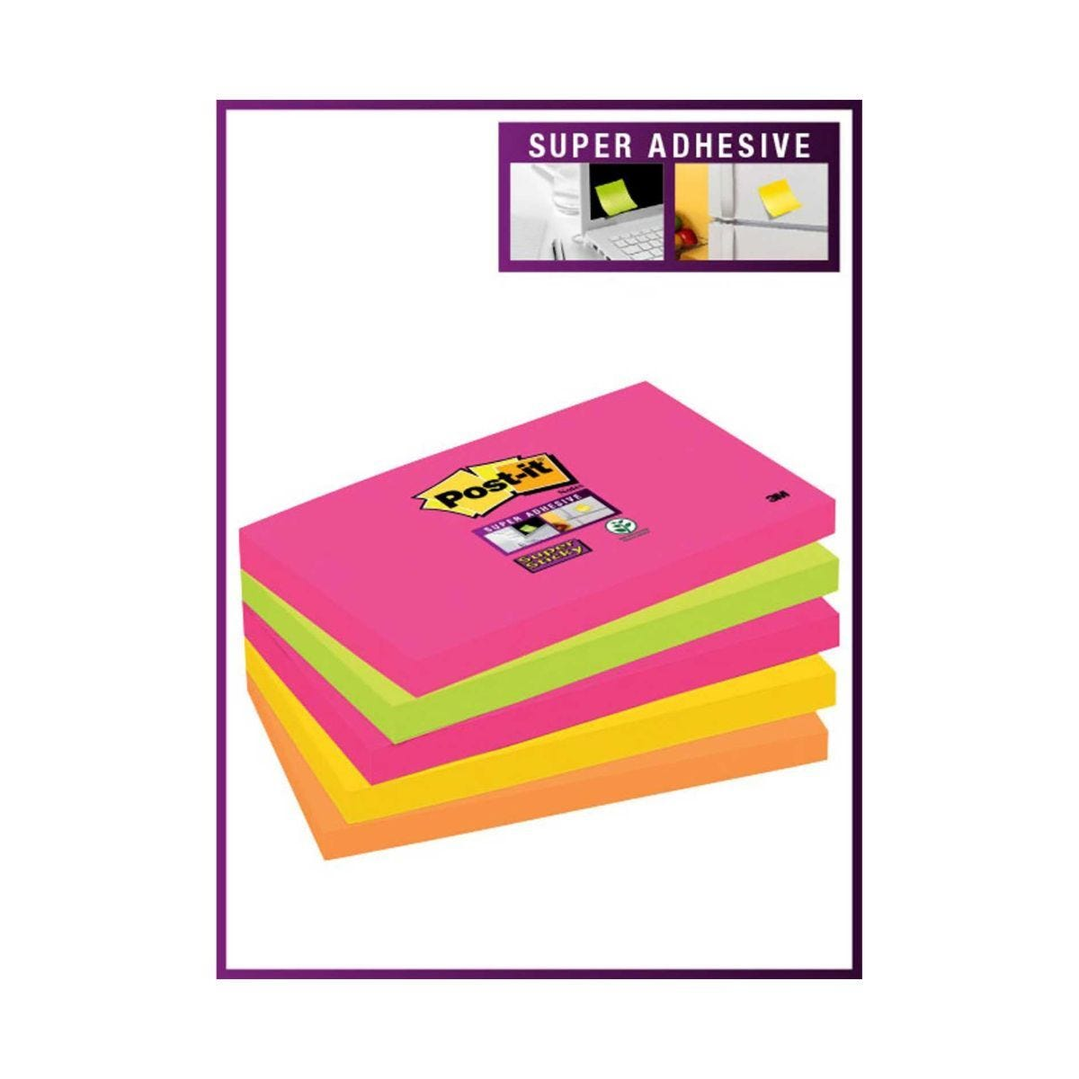 Post-it Super Sticky Notes 127x76mm Pack of 5