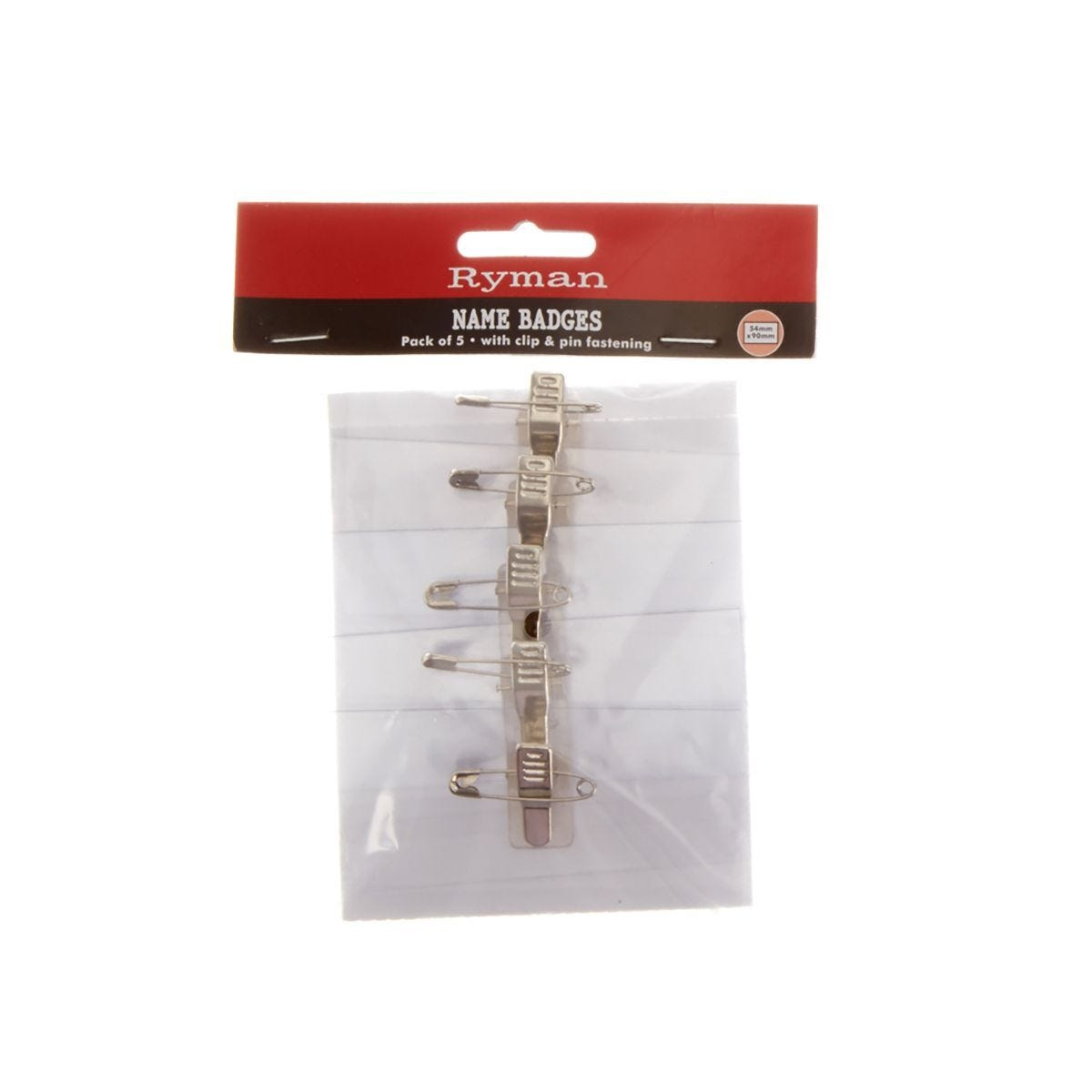 Ryman Name Badge Clip and Pin Pack of 5