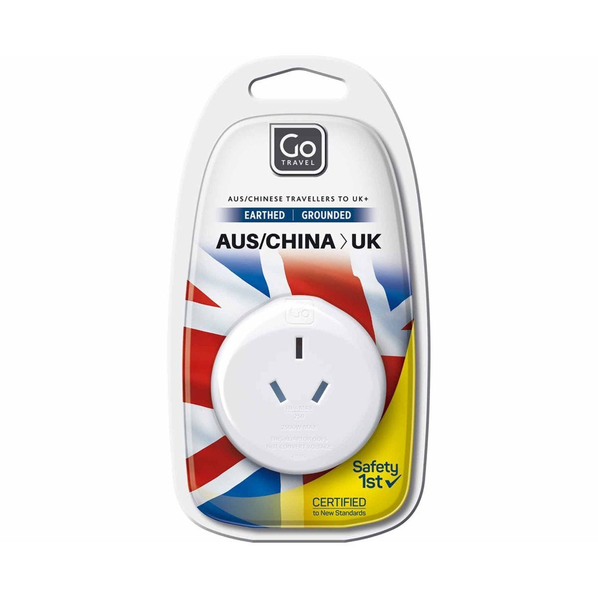 Go Travel Earthed Adapter Plug Australia and China Travellers to UK