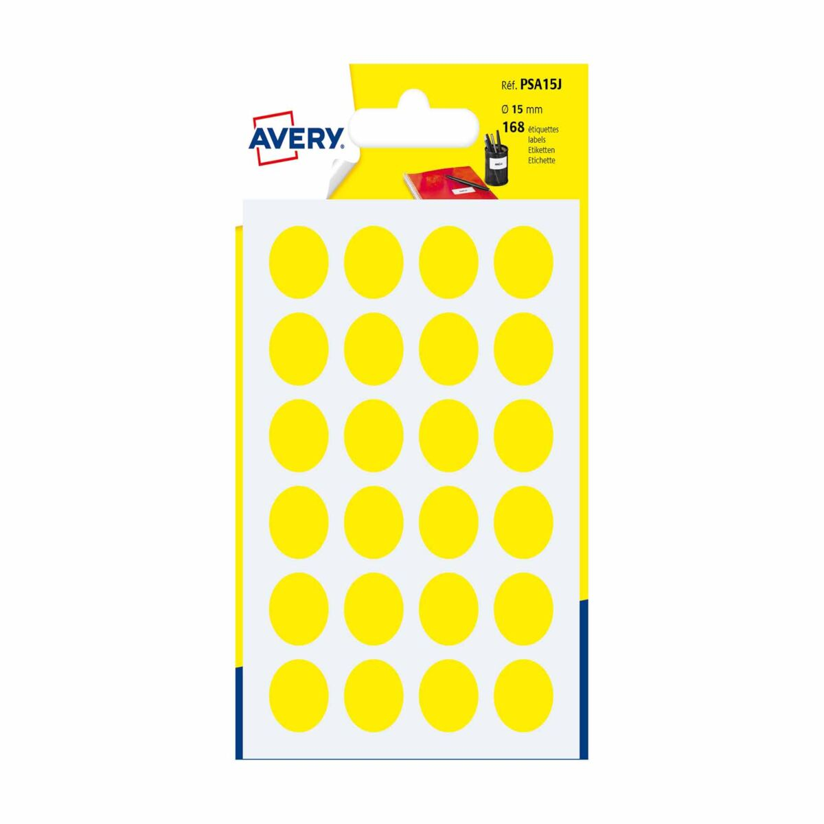 Avery Self Adhesive Labels Dots 15mm Pack of 168
