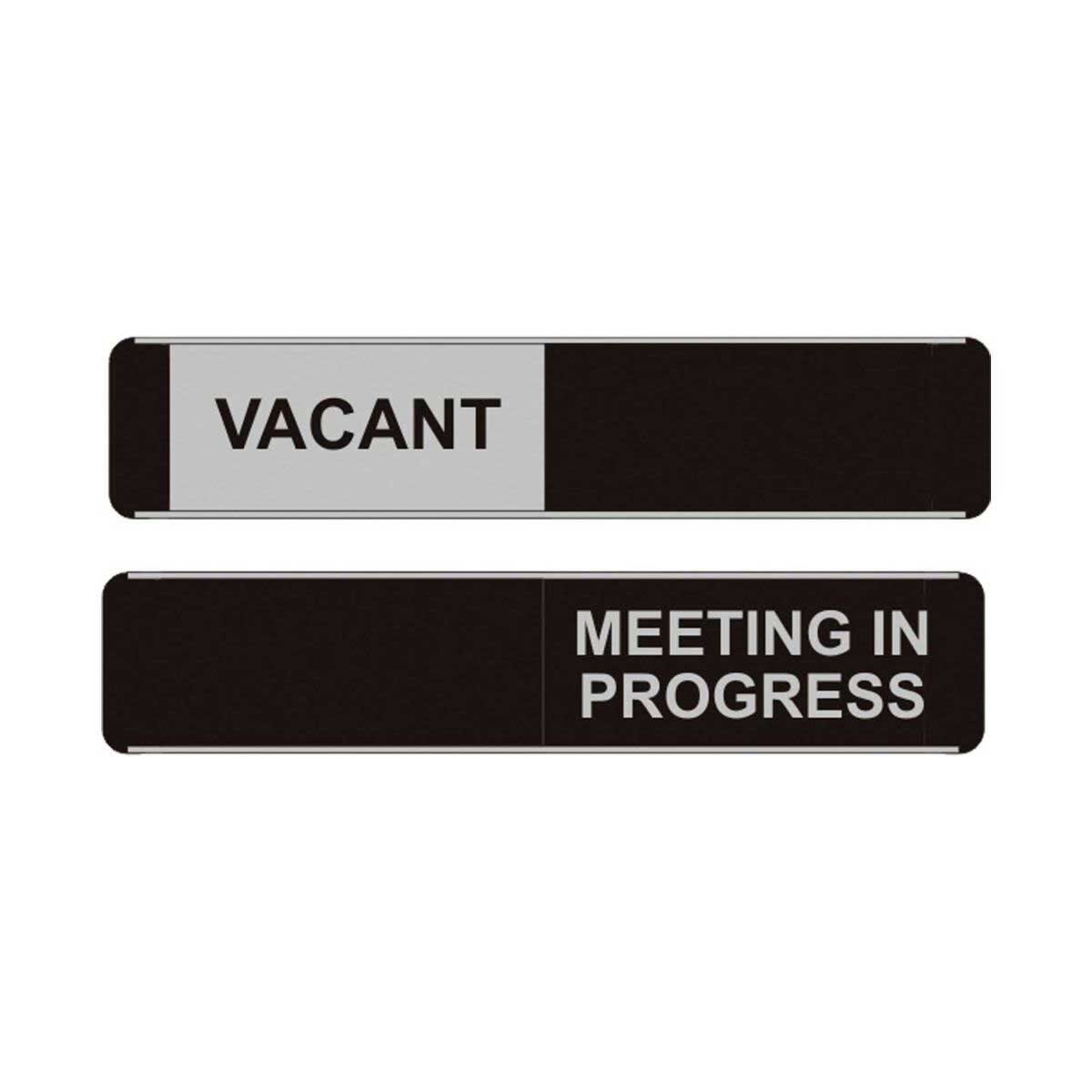 Vacant/Meeting in Progress Stylish Sliding Sign Alum PVC