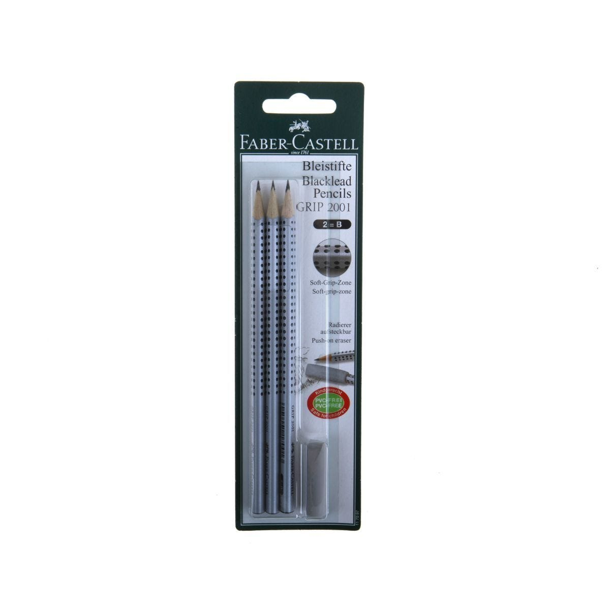 Faber Castell Soft Grip 2B Pencil Pack of 3