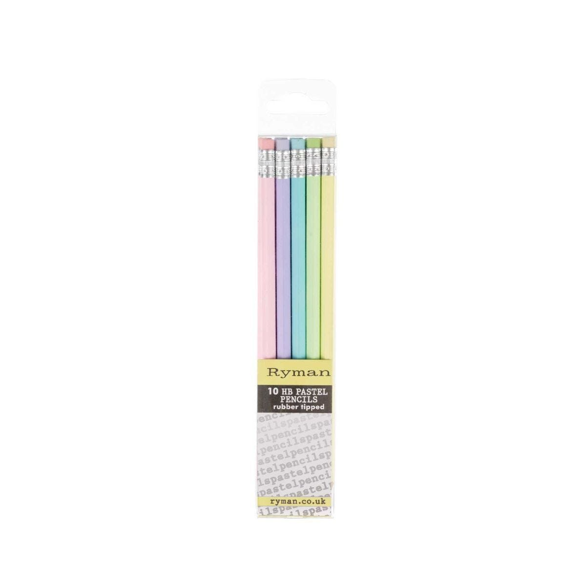 Ryman HB Rubber Tipped Pencils Pack of 10 Pastel