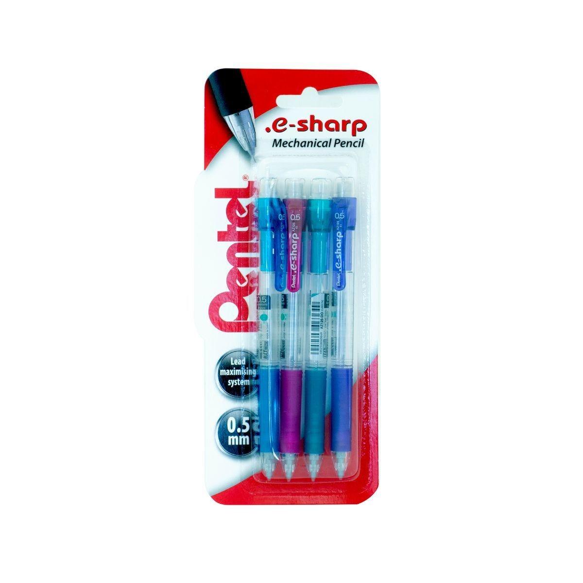 Pentel E-Sharp Mechanical Pencils 0.5mm  Pack of 4