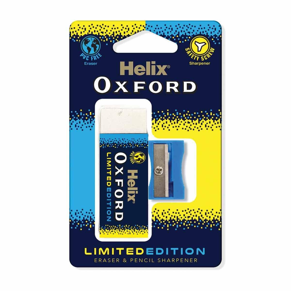 Helix Oxford Clash Eraser and Sharpener Blue