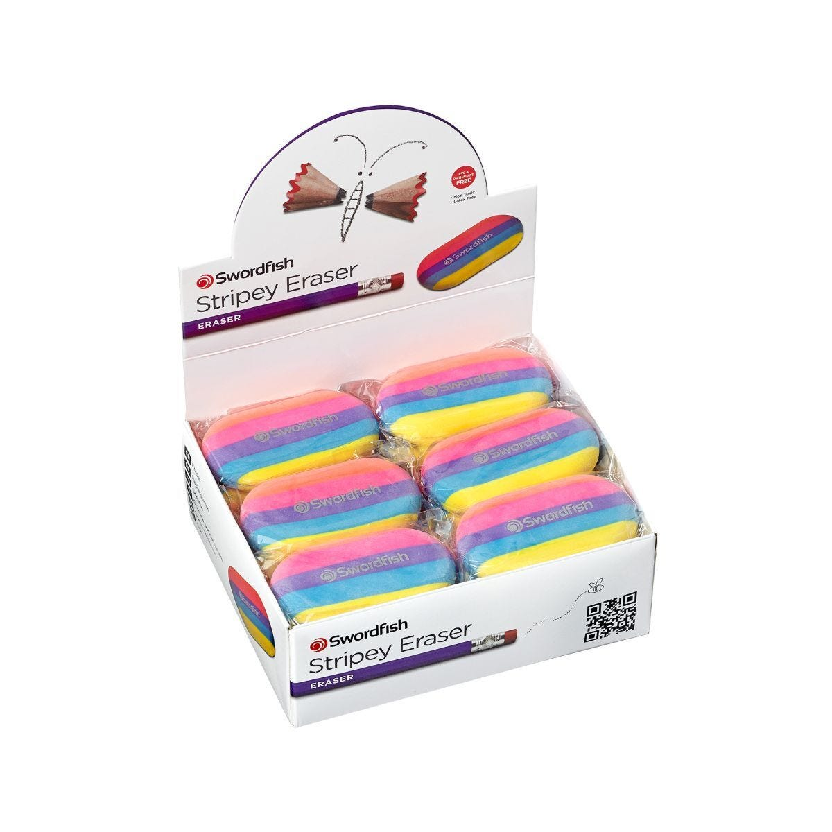 Snopake Stripey Eraser Pack of 24