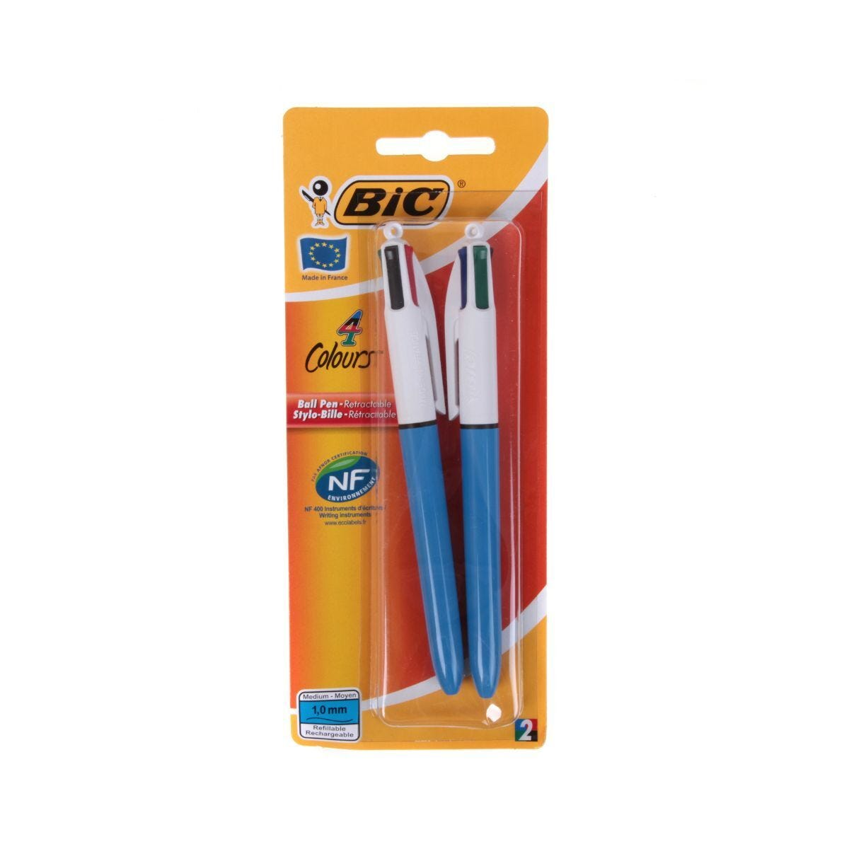 BiC 4 Colours Original Medium Pack of 2