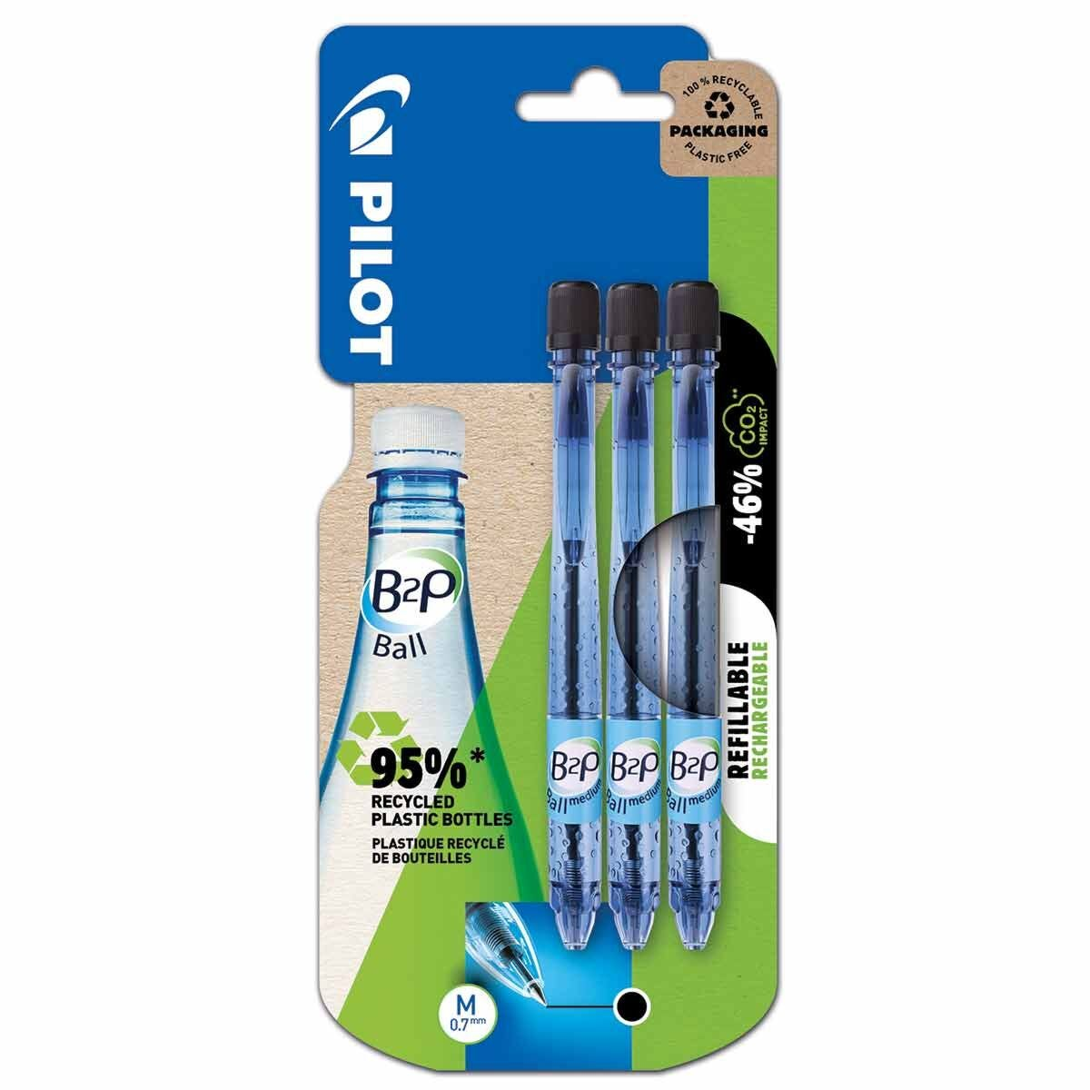 Pilot B2P Recycled Ballpoint Pens Pack of 3 Black