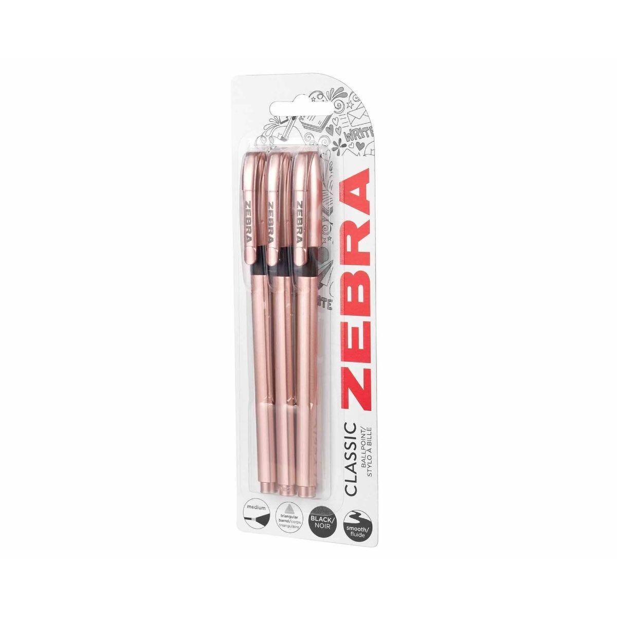 Zebra Ballpen Rose Gold Pack of 3