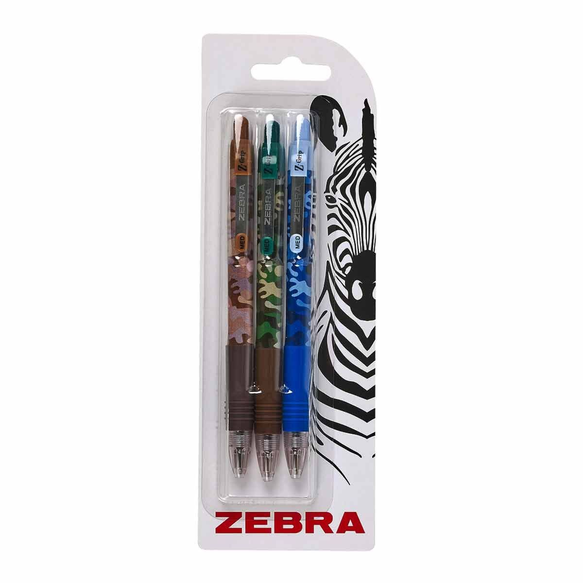 Zebra Z-Grip Smooth Ballpoint pens Camo Pack of 3