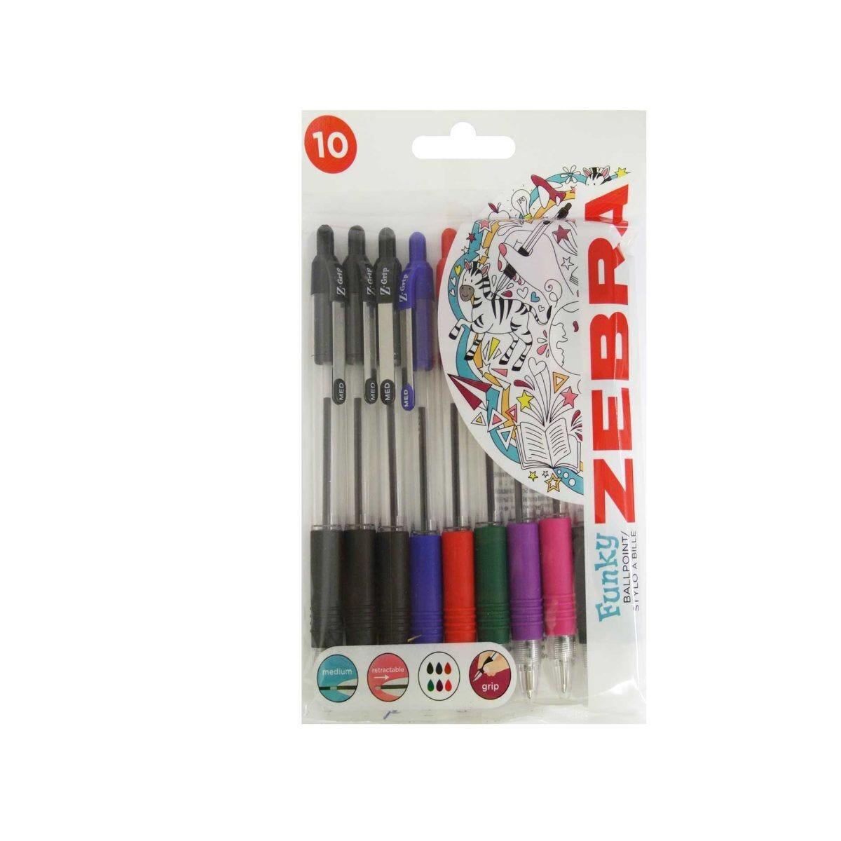 Zebra Z-Grip Ballpoint Pen Pack of 10 Assorted