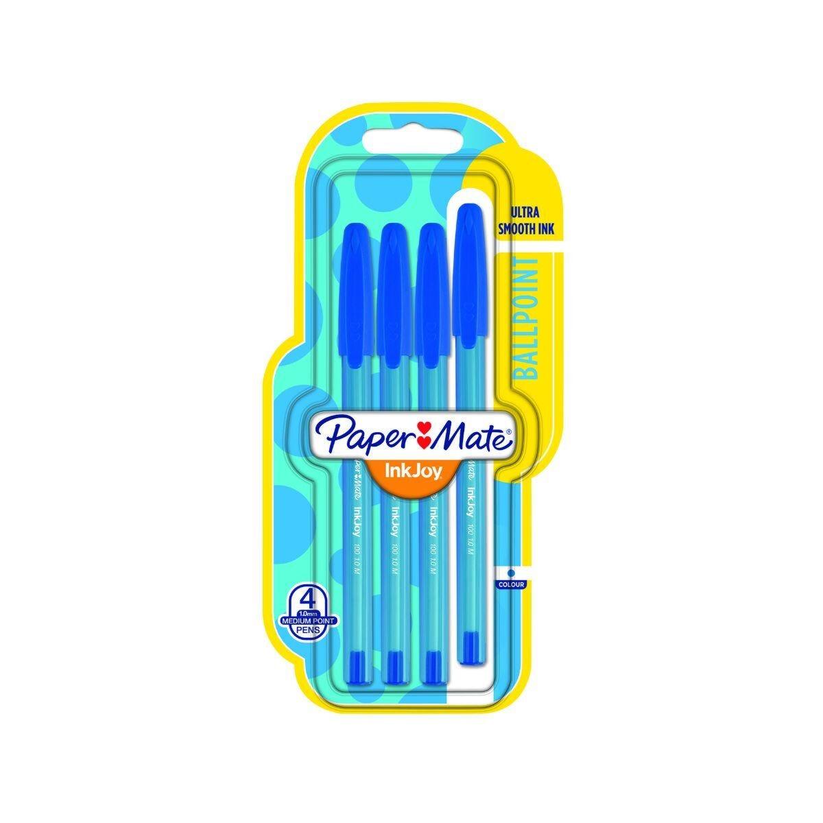 Paper Mate Inkjoy 100 Ball pen Pk4 Blue