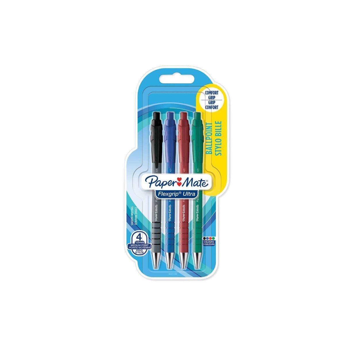 Paper Mate Flexgrip Ultra Ballpoint Pen Medium Pack of 4 Assorted