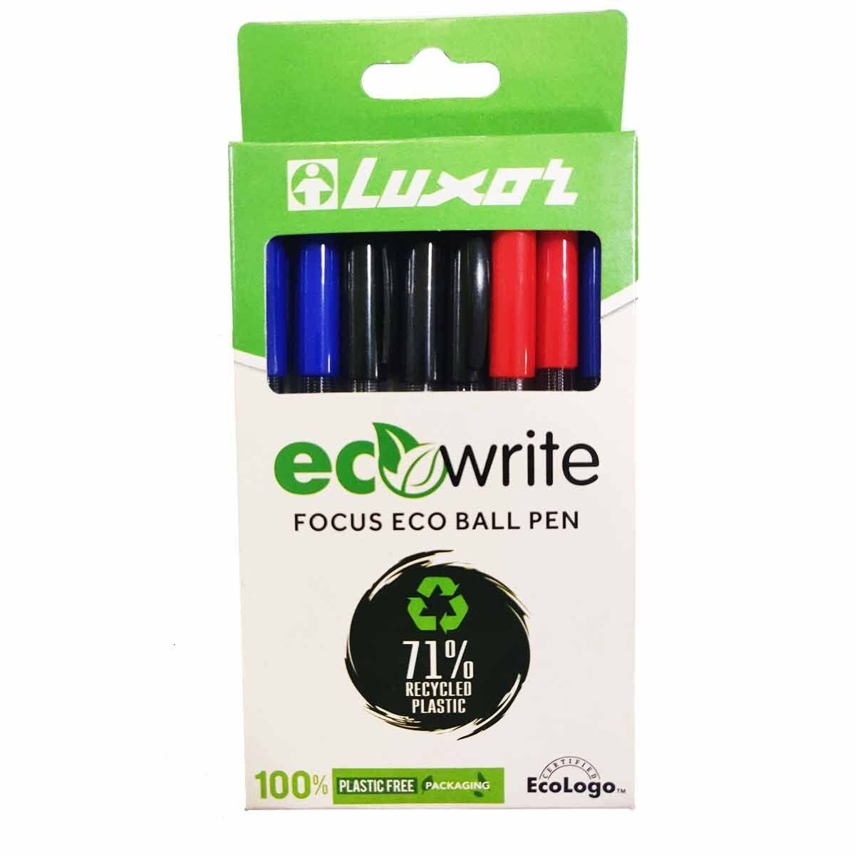 Luxor ecowrite Focus Ballpoint Pens Pack of 8
