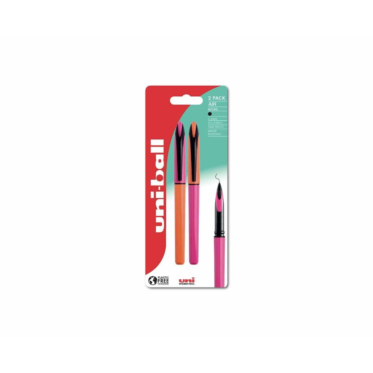 uni-ball Air Handwriting Pen Plastic Free Packaging Pack of 2 Orange/Pink