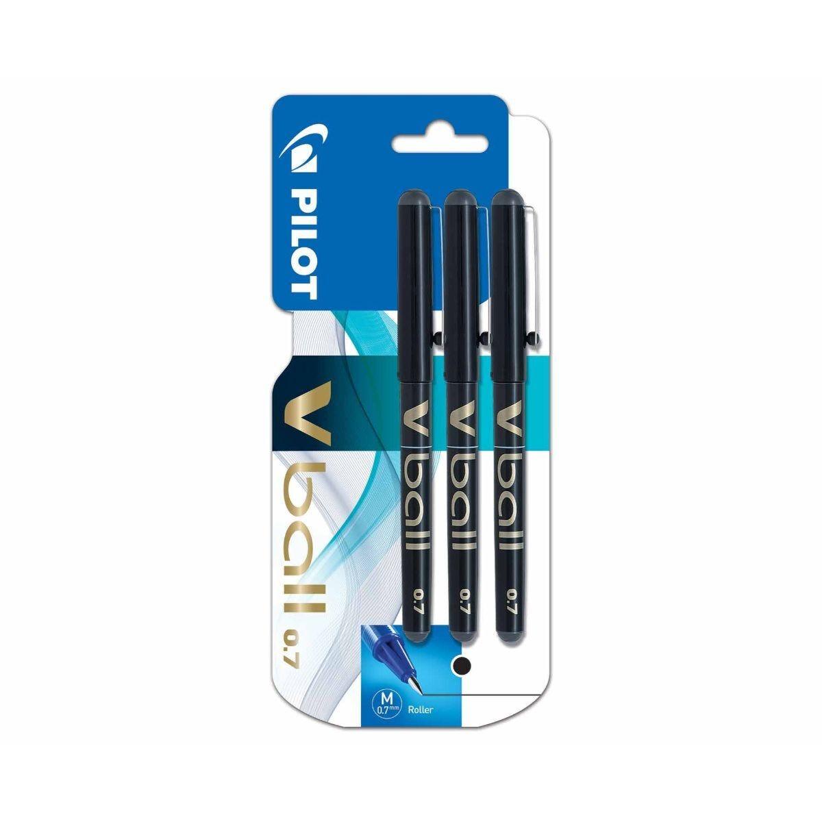 Pilot Vball 0.7 Rollerball Pens Pack of 3 Black