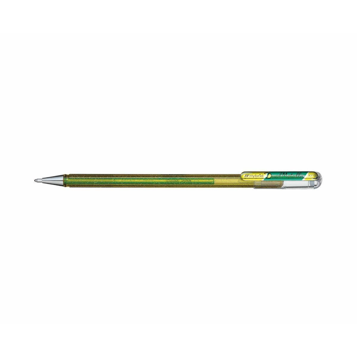 Pentel Dual Metallic Gel Pen Yellow and Metallic Green