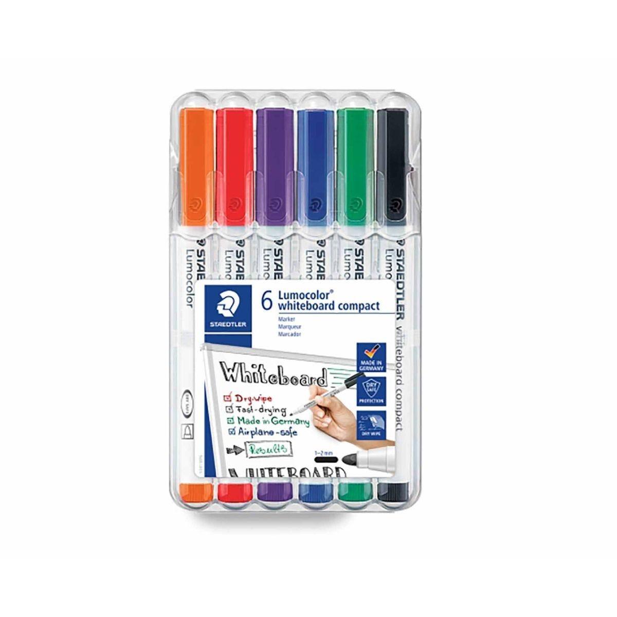 Staedtler Lumocolor Dry Wipe Markers Medium Pack of 6