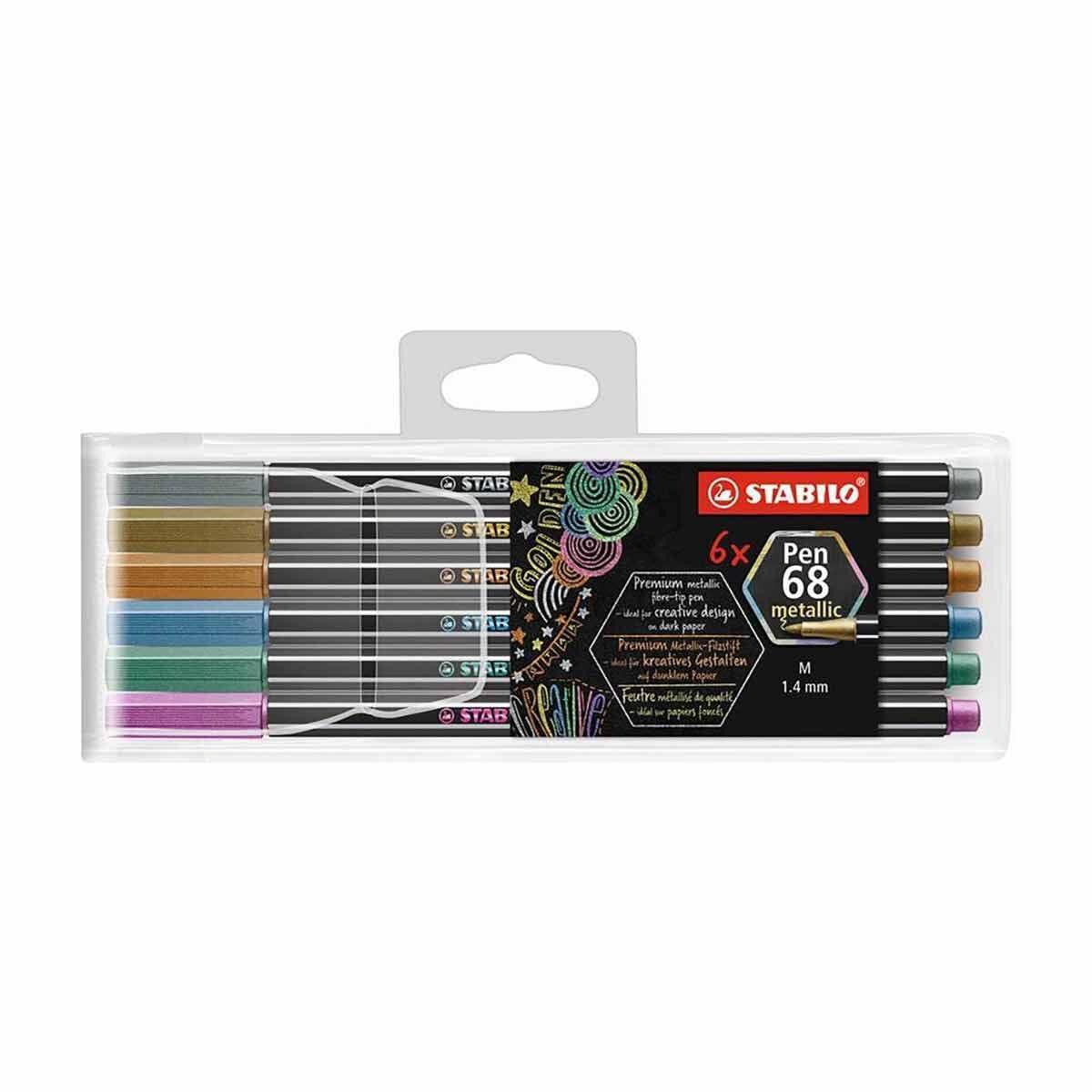 STABILO Pen 68 Metallic Pack of 6 Assorted