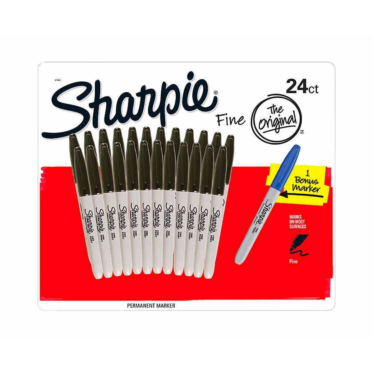 Sharpie Permanent Marker Black Pack of 24 and 1 Free Blue
