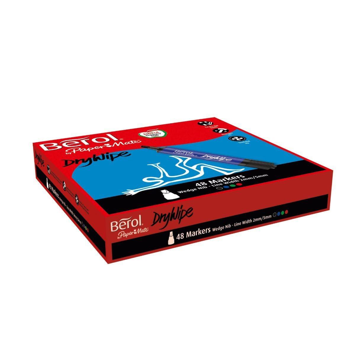 Berol Dry Wipe Chisel Tip Whiteboard Marker Pen Blue Pack of 96