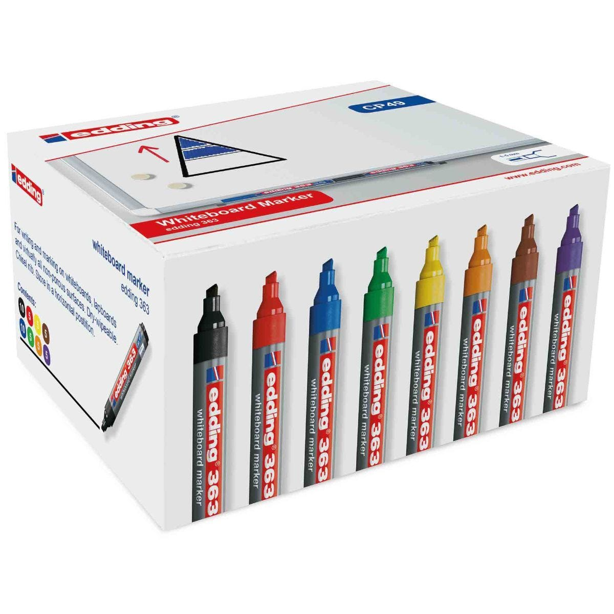 Edding 363 Drywipe Markers 8 Assorted Colours Pack of 50 Chisel Tip