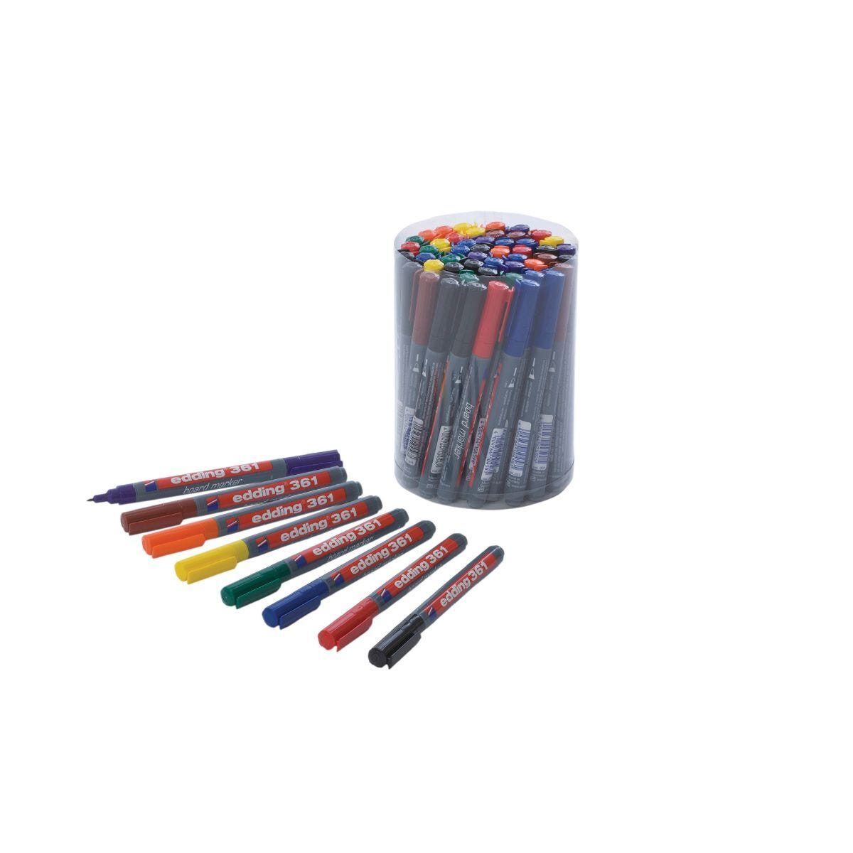 Edding 361 Drywipe Markers 8 Assorted Colours Tub of 50 Fine Tip