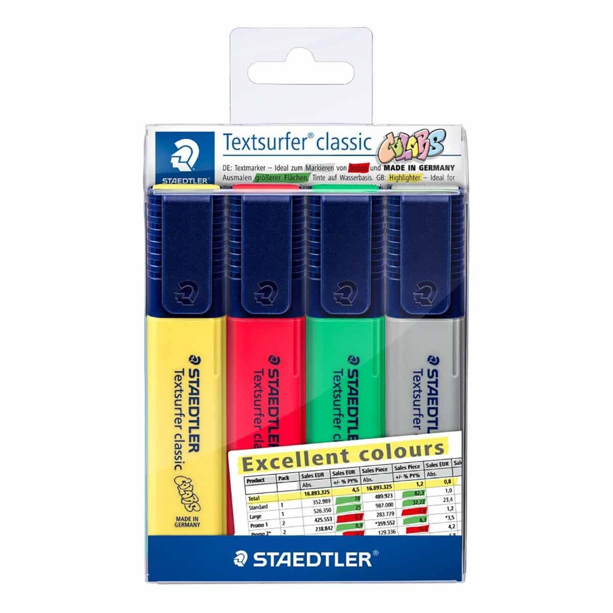 Staedtler Textsurfer Classic Highlighters Pack of 4 Assorted